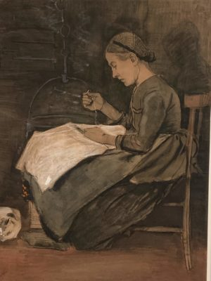 Vincent van Gogh - Woman sewing and cat, 1881